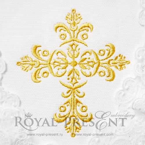 Дизайн машинной вышивки Золотой орнаментальный крестик