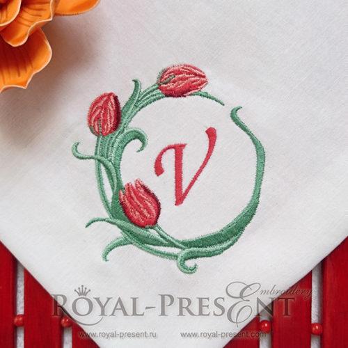 Дизайн машинной вышивки Обрамление Тюльпаны