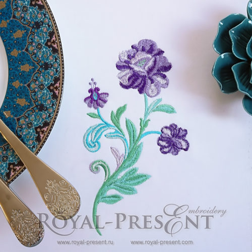 Дизайн для машинной вышивки Изумрудный цветок