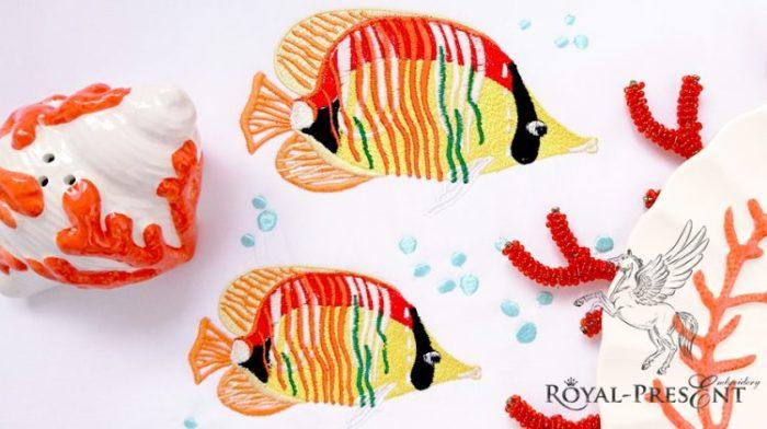 Дизайн машинной вышивки Красивые морские рыбки