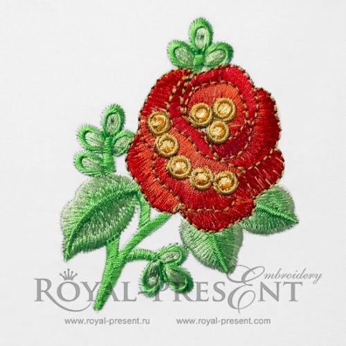 Дизайн машинной вышивки Прекрасная красная роза