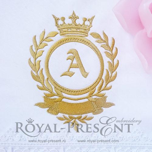 Дизайн машинной вышивки Классическое обрамление монограммы с короной