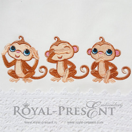 Дизайн машинной вышивки Три обезьянки