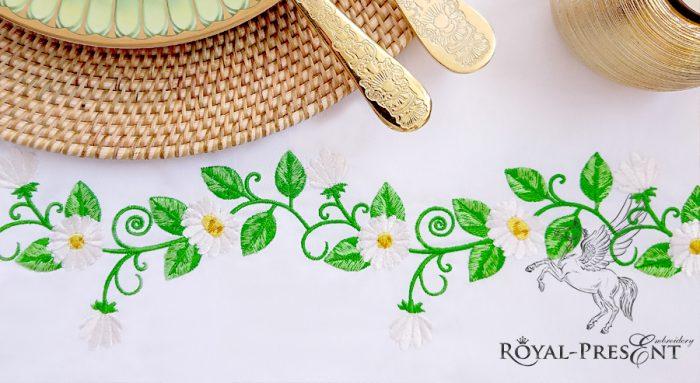 Дизайн машинной вышивки Бордюр Ромашки - 2 размера