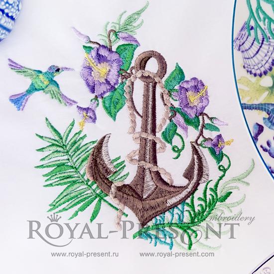 Дизайн машинной вышивки Морской якорь с цветами - 2 размера