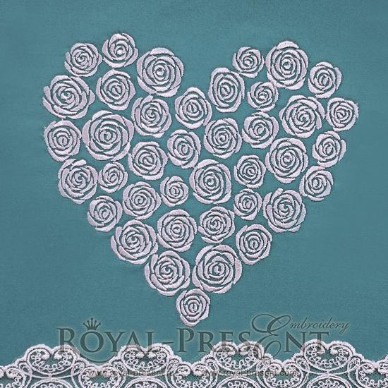 Дизайн машинной вышивки сердце из роз
