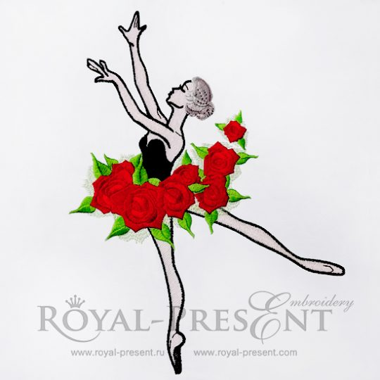 Дизайн машинной вышивки Балерина с розами