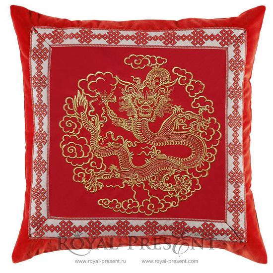 Дизайн машинной вышивки Золотой Китайский Дракон