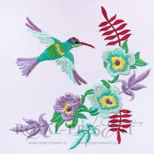 Угловой дизайн машинной вышивки Колибри и цветы