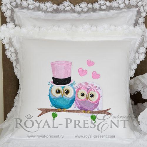 Дизайн машинной вышивки Совы Жених и Невеста