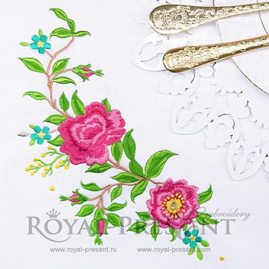 Угловой дизайн машинной вышивки Плетистая Роза - 2 размера