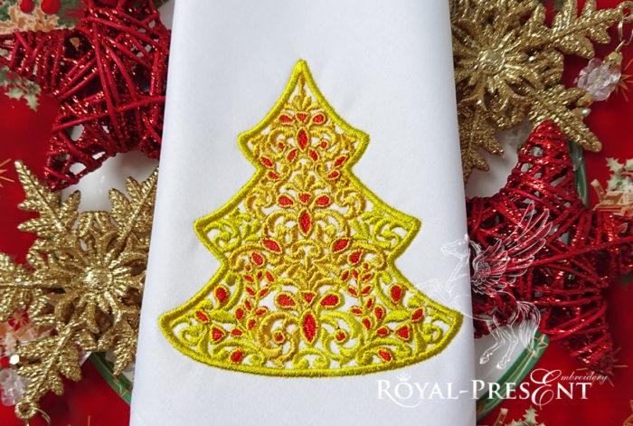 Новогодний Дизайн машинной вышивки Елочка с рубинами - 6 размеров