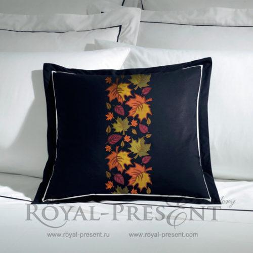 Дизайн машинной вышивки Бордюр Осенние листья