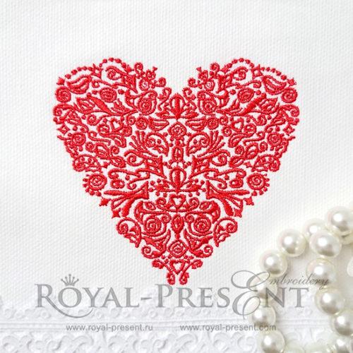 Дизайн машинной вышивки Красное кружевное Сердце