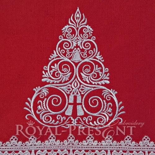 Новогодний Дизайн машинной вышивки Елочка
