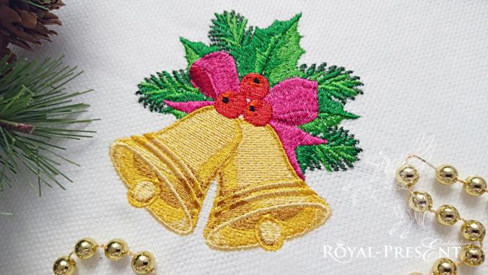 Рождественские колокольчики Дизайн машинной вышивки