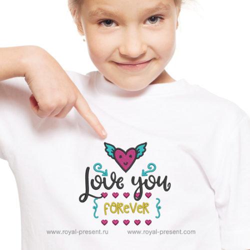Дизайн машинной вышивки Любовь навсегда - 3 размера