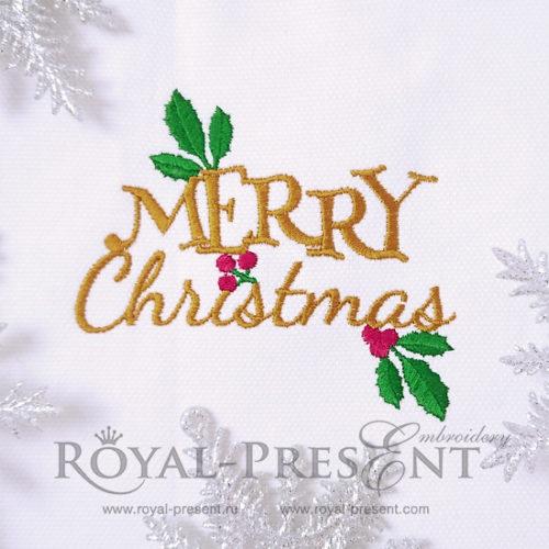 Новогодний дизайн машинной вышивки Merry Christmas бесплатно