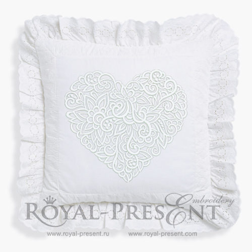 Дизайн машинной вышивки Сердце из орнамента - 6 размеров