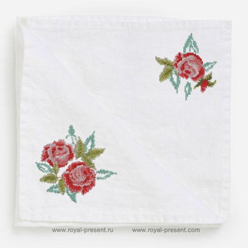 Два дизайна машинной вышивки крестом Розы
