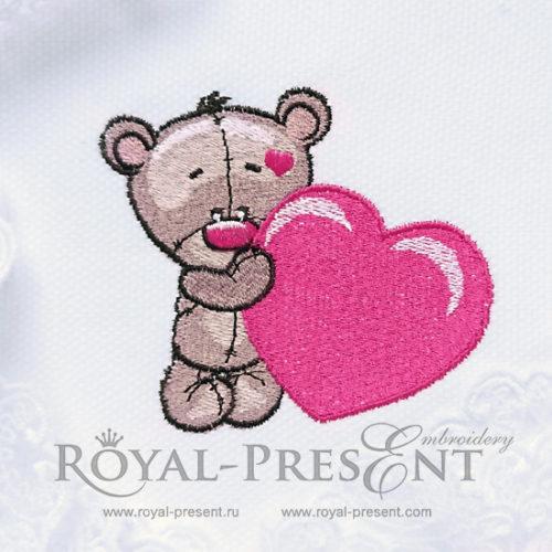 Дизайн машинной вышивки Мишка Тедди с сердечком