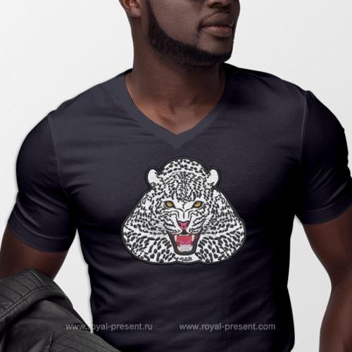 Аппликация для машинной вышивки Снежный Леопард