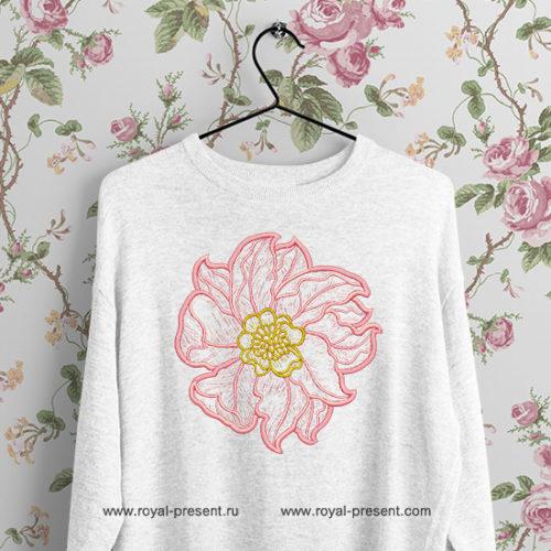 Дизайн вышивки Розовый контурный пион