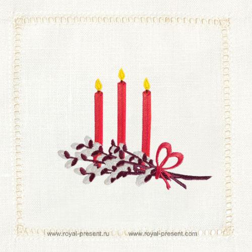 Дизайн машинной вышивки Пасхальные свечи