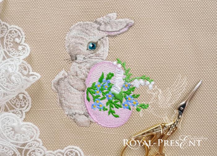 Дизайн вышивки Пасхальный Кролик с яйцом