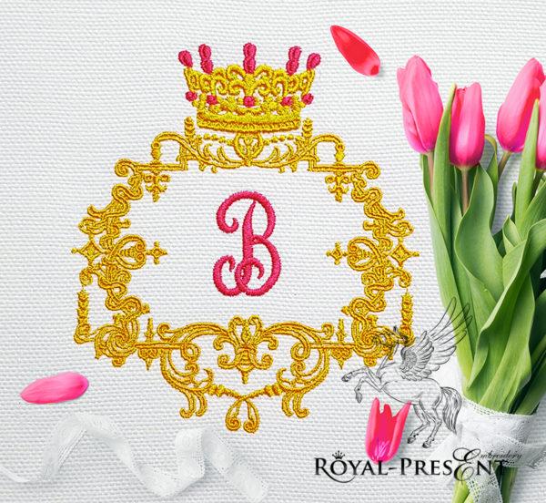 Дизайн машинной вышивки Королевская рамка для монограммы - 3 размера