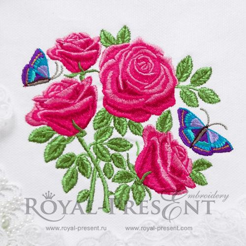 Дизайн машинной вышивки Букет садовых роз с бабочками