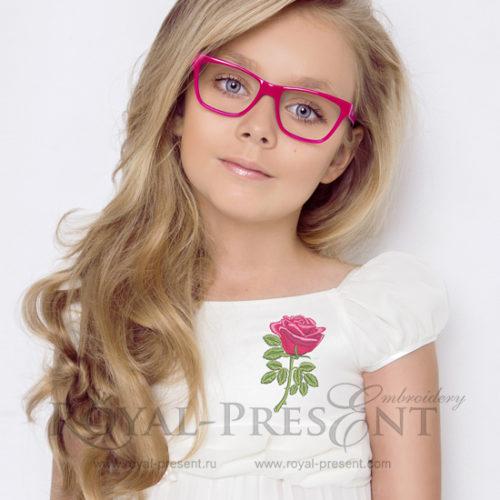 Дизайн машинной вышивки Красная роза