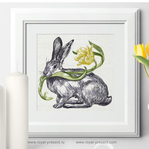 Дизайн машинной вышивки Весенний Кролик с тюльпаном