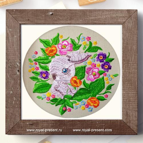 Дизайн машинной вышивки Кролик в цветах