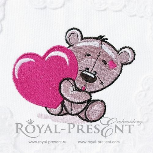 Дизайн машинной вышивки Медвежонок Тедди с сердечком