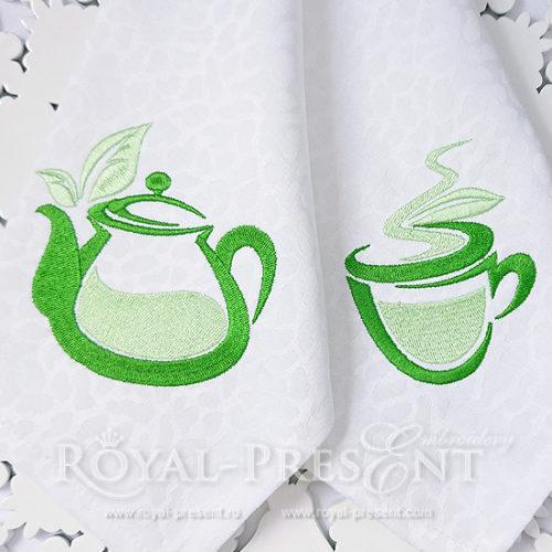 Дизайны машинной вышивки Чайник и чашка