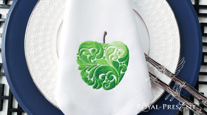 Орнаментальный Дизайн машинной вышивки Яблоко