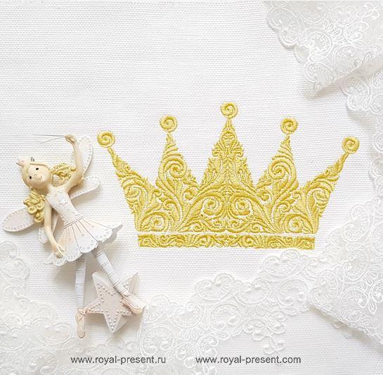 Орнаментальная Корона Дизайн машинной вышивки