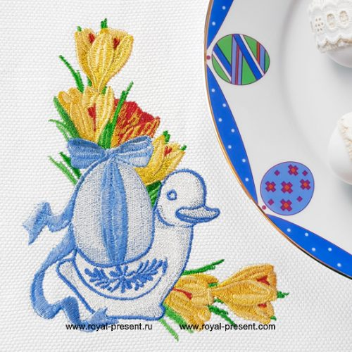 Угловой Дизайн машинной вышивки Пасхальная уточка