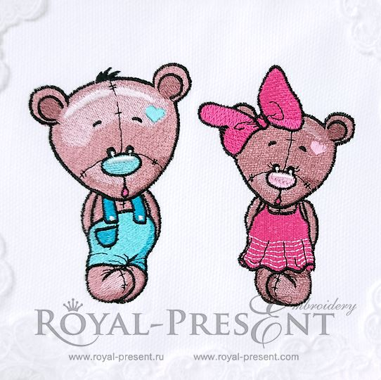 Два Дизайна машинной вышивки Медвежата
