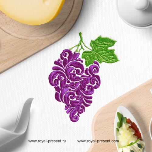 Витиеватый Дизайн машинной вышивки Гроздь Винограда