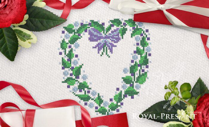 Дизайн для машинной вышивки крестом Цветочное сердце