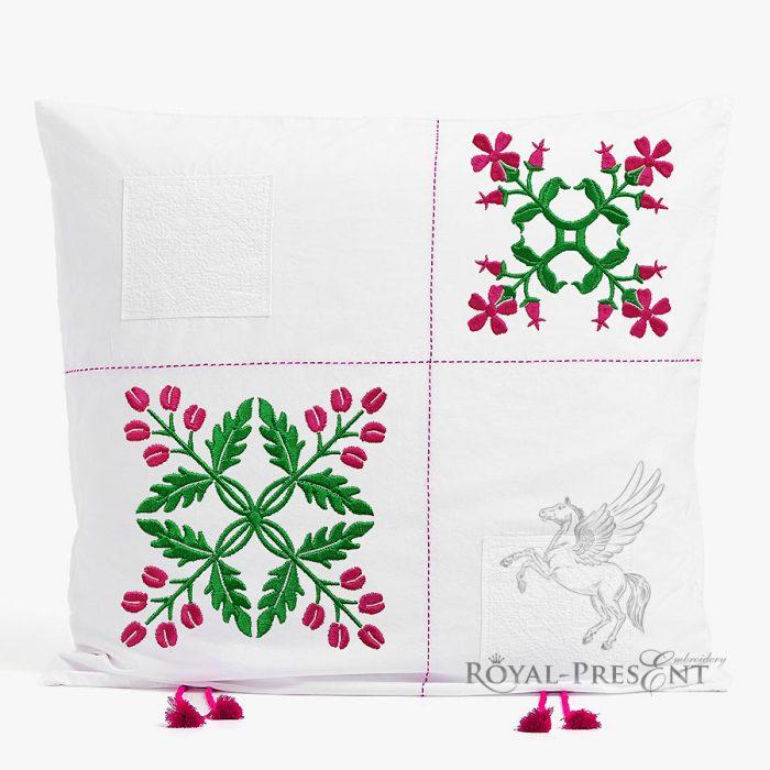 Два Дизайна машинной вышивки Цветочный орнамент