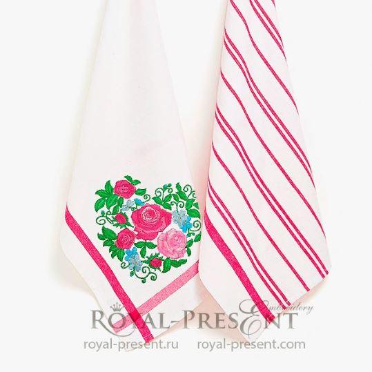 Сердце из роз Дизайн машинной вышивки