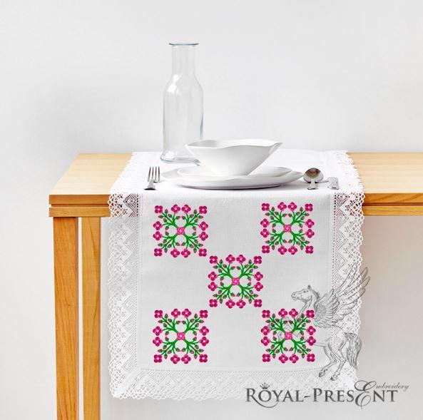 Фольклорный цветочный Узор для машинной вышивки - 2 размера