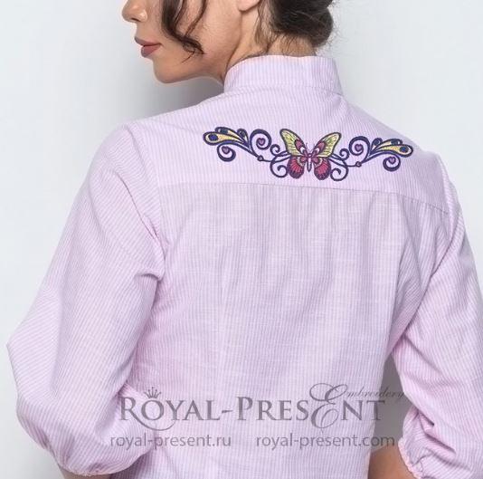 Дизайн машинной вышивки Бордюр Бабочка в тату стиле