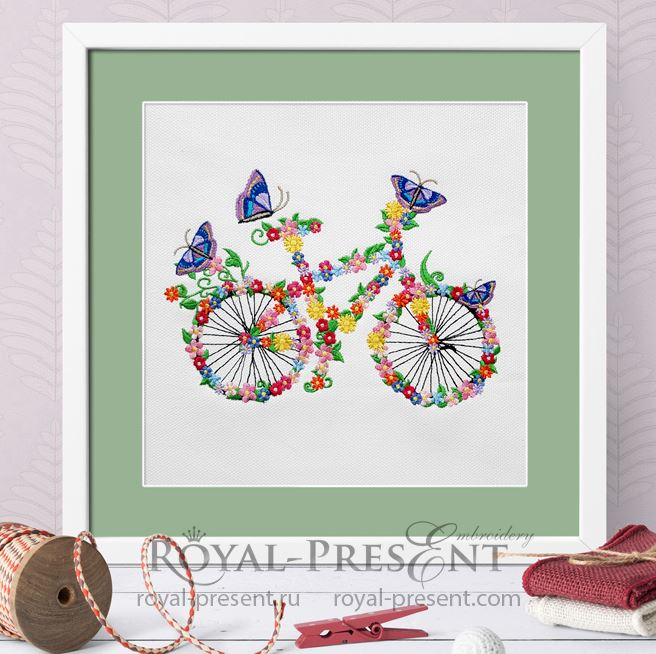 Дизайн машинной вышивки Цветочный велосипед с бабочками