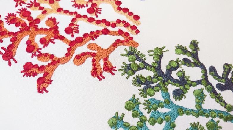 Дизайн машинной вышивки разноцветные кораллы