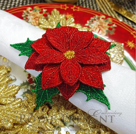 Дизайн для машинной вышивки для салфеток FSL кольцо-держатель Рождественская звезда