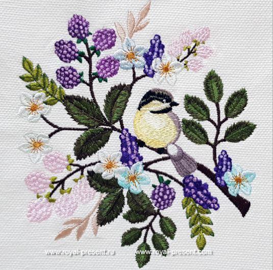 Дизайн машинной вышивки Синичка на веточке